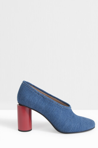 block heels denim women heels blue shoes