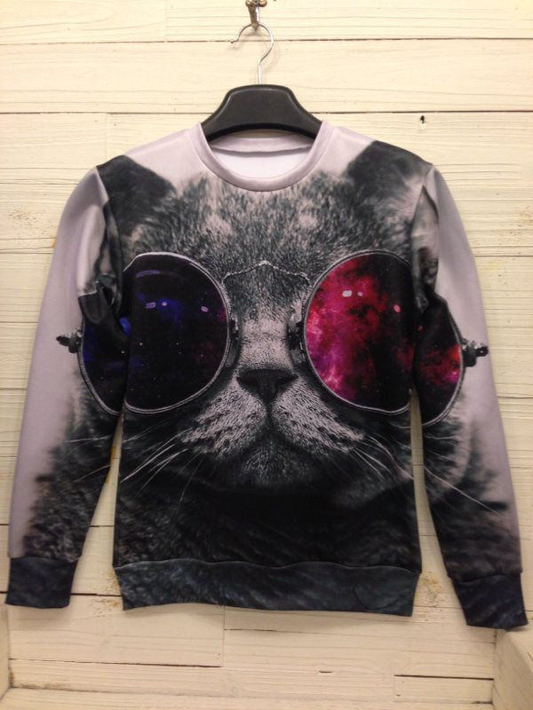 Women MEN Space Galaxy 3D Animal Sweatshirts CAT Sweaters Hoodies TOP Pullover | eBay