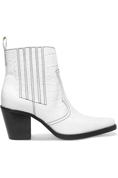 GANNI - Callie croc-effect leather ankle boots