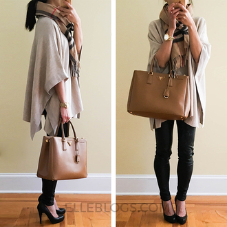fastfood&fastfashion blogger coat skirt sweater dress handbag poncho high heel pumps fall outfits