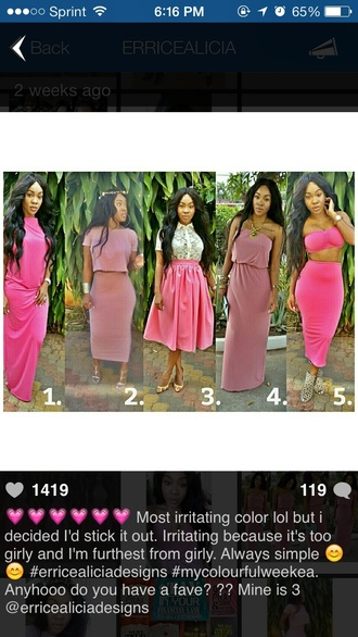 dress crop tops bandeau pink dress spring fashion style two-piece