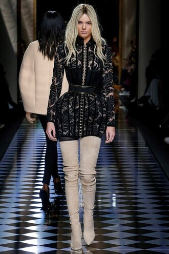 dress mini dress boots kendall jenner fashion week 2016 paris fashion week 2016 fall outfits balmain fall dress kardashians
