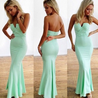 dress mint long dress wedding guest strapless cheap outfit gown