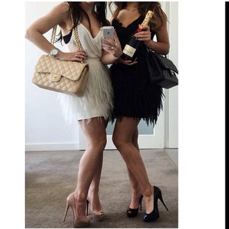 bag chanel chanel bag fur feathers cute dress