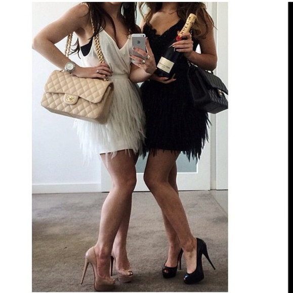 feathers bag chanel chanel bag fur cute dress