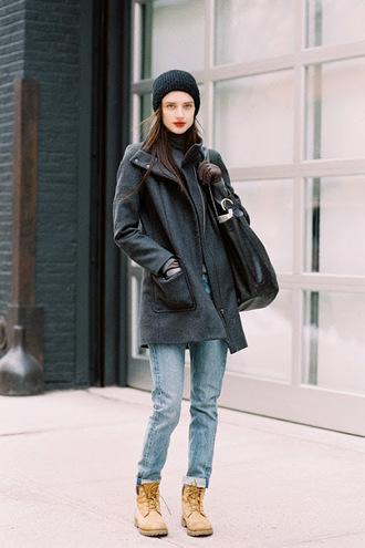 vanessa jackman blogger winter outfits grey coat timberlands maxi bag