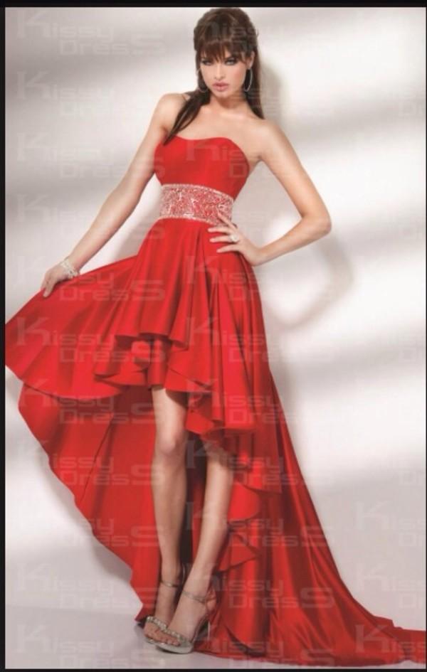 dress prom dress high low red