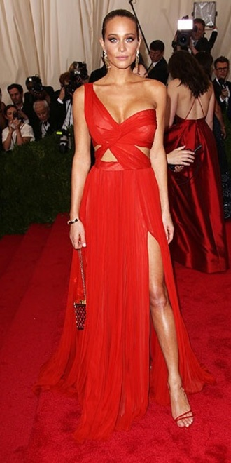 dress red carpet dress red dress gown one shoulder prom dress met gala