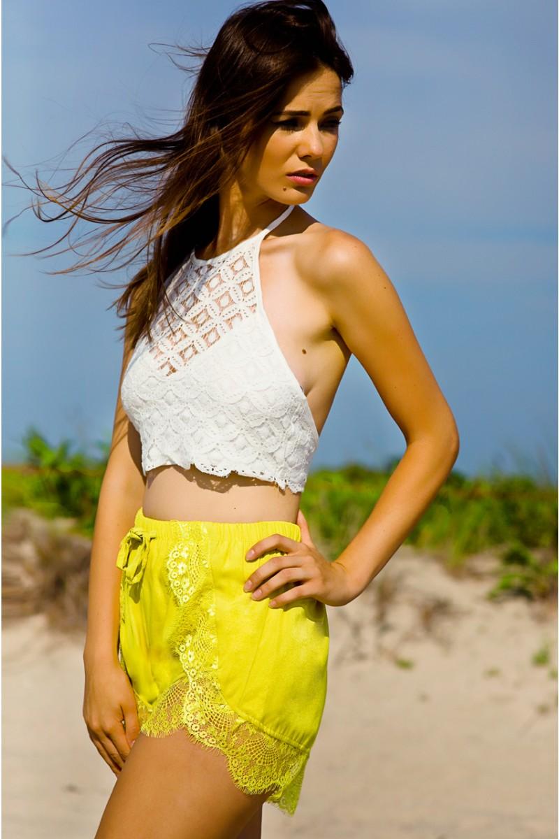 Yellow Lace Shorts | Haute Rogue
