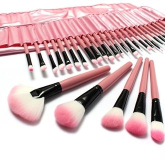 make-up pink makeup palette makeup brushes makeup bag makeup table eye makeup eyeliner eye shadow eyebrows foundation