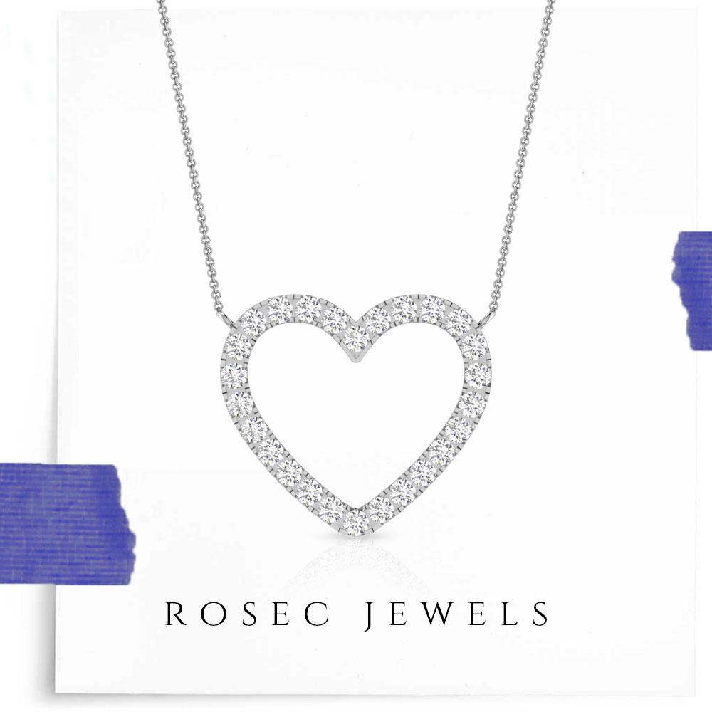 Pave Diamond Heart Pendant, 14k White Gold Open Heart Necklace, Golden Heart Shaped Pendant Jewellery for Women