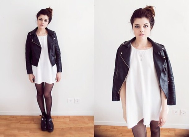 dress white dress white soft grunge grunge rock rock black leather jacket jacket leather jacket leather black black and white goth hipster goth tights black tights t-shirt t-shirt t-shirt dress boxy edgy whit little white dress rock fashion grunge shoes vintage black leather where did u get that cissy zhang girl in the bunny ears | a daily dose of divine blogger jewels