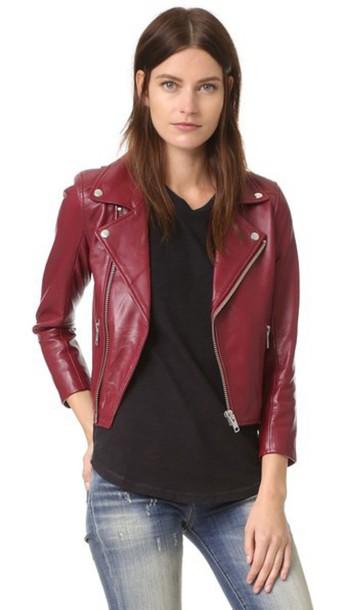 Ganni Leather Biker Jacket - Cabernet