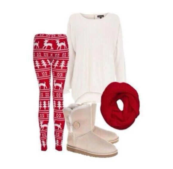 sweater scarf perfecto black shoes sweet white cotton winter sweater christmas pullover leggings deer
