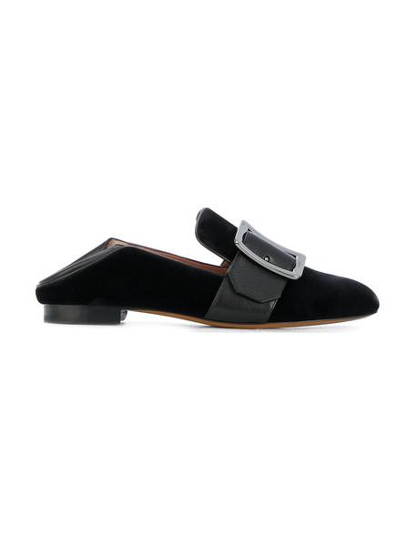 Bally women loafers leather black velvet shoes