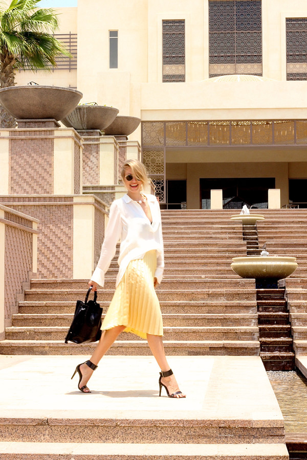 ohh couture skirt blouse shoes bag sunglasses jewels