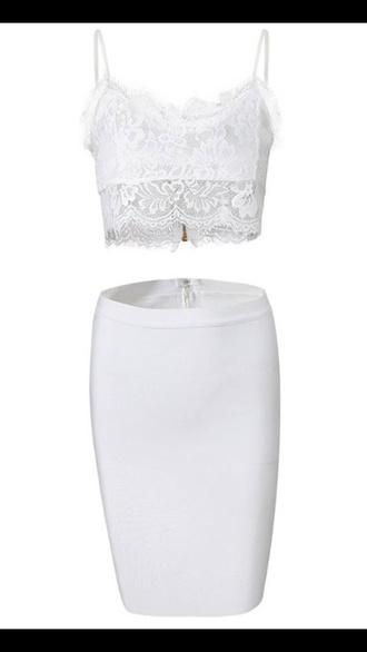 dress two-piece two piece dress set white two piece white dress