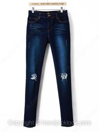 Denim Dark Blue Ripped Jeans - Shop for Denim Dark Blue Ripped ...