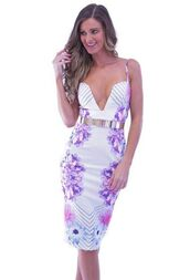 dress,floral,multicolor,bodycon dress,v plunge,midi dress