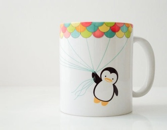 home accessory mug lovely penguins coffee tea girly