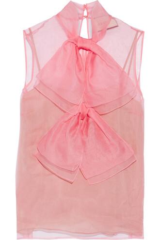 blouse chiffon blouse bow chiffon silk pink top