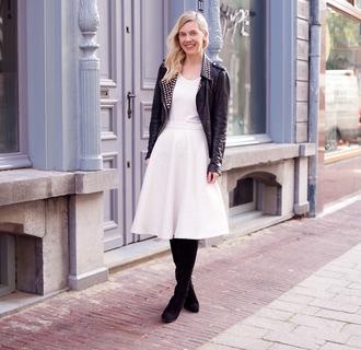 cocorosa blogger midi skirt white skirt perfecto studs