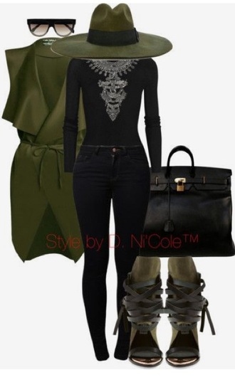 coat green sleeveless jacket jewels sunglasses jewelry necklace silver necklace silver jewelry statement necklace statement sunnies accessories accessory