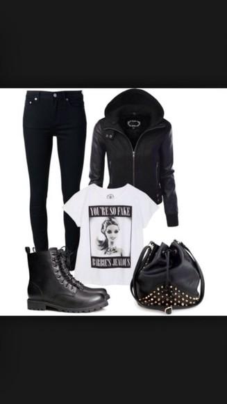 spikes black grunge jacket leather jacket hoodie soft grunge punk cool girl style
