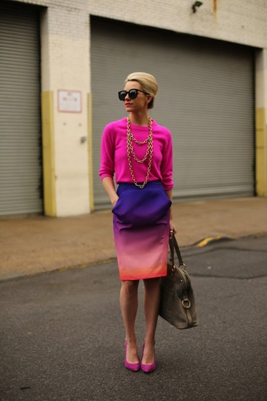 sweater shoes ombre skirt ombre skirt nail polish lipstick bracelet necklace handbag sunglasses bag