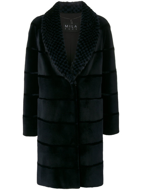 Cara Mila coat fur women blue checkered