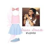 ariana grande,hair bow,pastel,pastel blue,skater skirt,pastel skirt