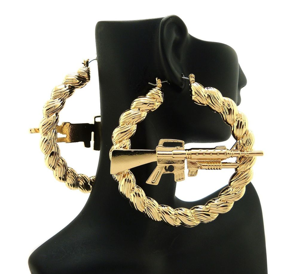 Urban Ghetto Style Machine Gun Hollow Pincatch Hoop Rope Design Earrings HYER30 | eBay