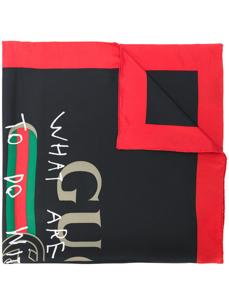 gucci women scarf black silk