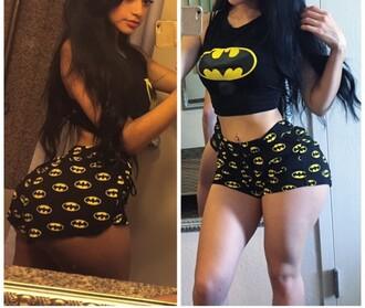 pajamas batman shorts batman shirt top black