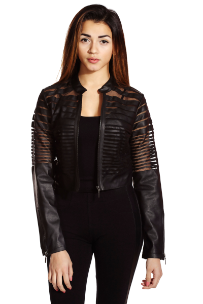 Black edgy faux leather mesh jacket