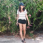 behind seams,blogger,t-shirt,shorts,shoes,hat,bag