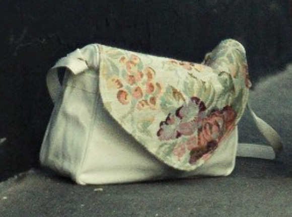 bag leather bag purse white embroidery floral