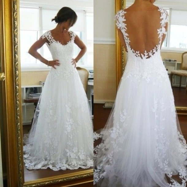 Dress: White, Lace Dress, Wedding Dress, Low Back Dress