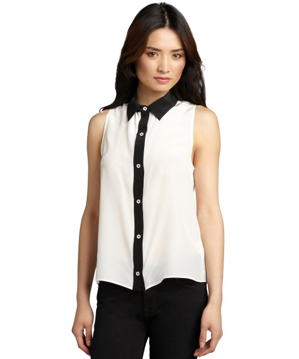 Wyatt black and white silk button down tuxedo stripe blouse | BLUEFLY up to 70% off designer brands