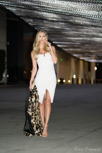fashion addict blogger sexy dress white dress bodycon dress animal print