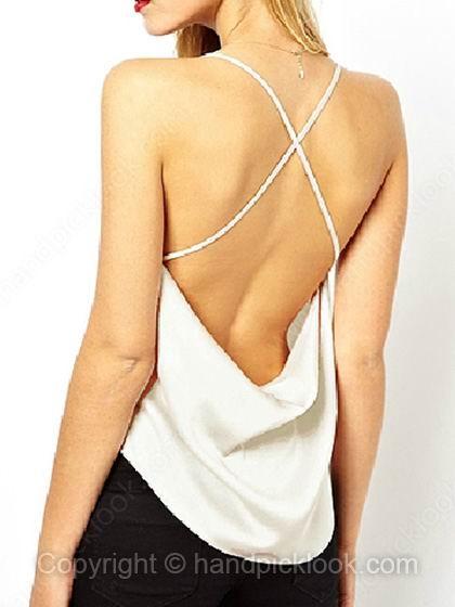 White Spaghetti Strap Sleeveless Chiffon Vest - HandpickLook.com
