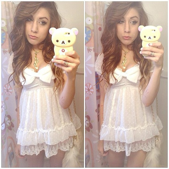 dress white cute dress white dress clothes cute fashion dolly dress dolly babydoll baby doll white lace chiffon dress chiffon lace kawaii white lace dress little white dress