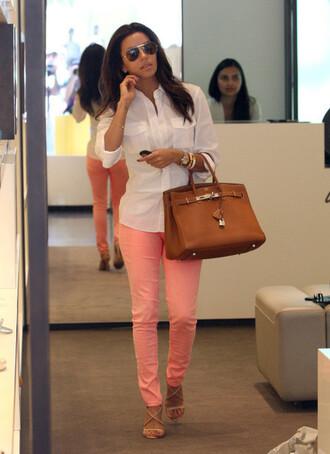 jeans pink jeans shirt white shirt bag hermes bag hermes brown bag sandals nude sandals sunglasses aviator sunglasses eva longoria celebrity