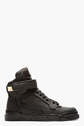 Givenchy Black Matte Leather High-top Tyson Sneakers for women | SSENSE