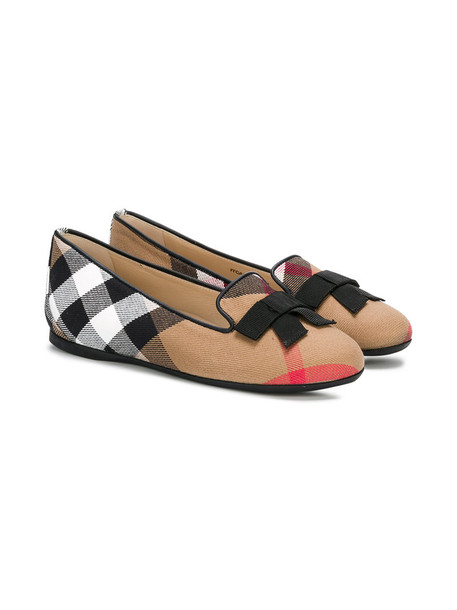 Burberry Kids bow leather nude cotton shoes