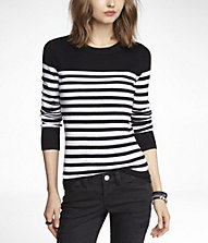 STRIPED FITTED CREW NECK SWEATER | Express