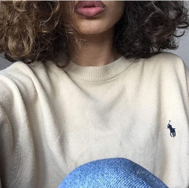 cream white ralph lauren polo sweater
