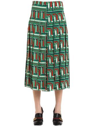 skirt pleated silk green