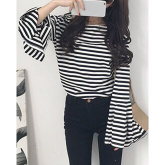 top trendsgal long sleeves stripes striped top striped shirt black and white