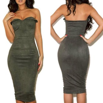 dress military style green green dress army green strapless tight fashion